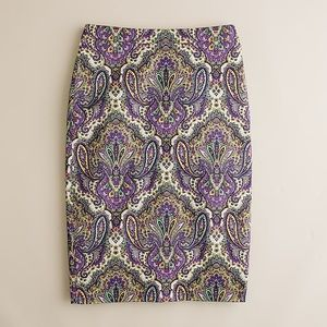 J.Crew No. 2 pencil skirt in royal paisley